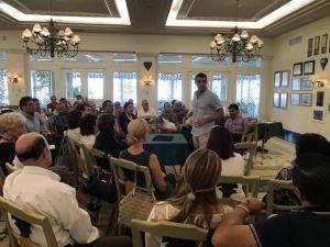 Fletcher speaking for sales team at Pueblo Bonito Emerald Bay in Mazatlan, Mexico